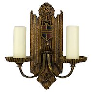 Pair, 1920's American Cast Brass Tudor Two Arm Sconces