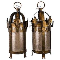 Pair, 1920's American Iron and Mica Lanterns