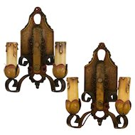Pair of 1920's Two Arm Spanish Revival Polychrome Sconces