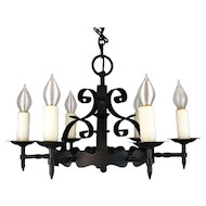 1920's American Wrought Iron Six Light Chandelier