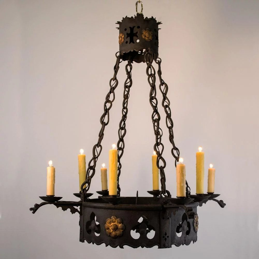 Click to expand & 1920u0027s 8 Light French Wrought Iron Gothic Tudor Chandelier : Table M ...