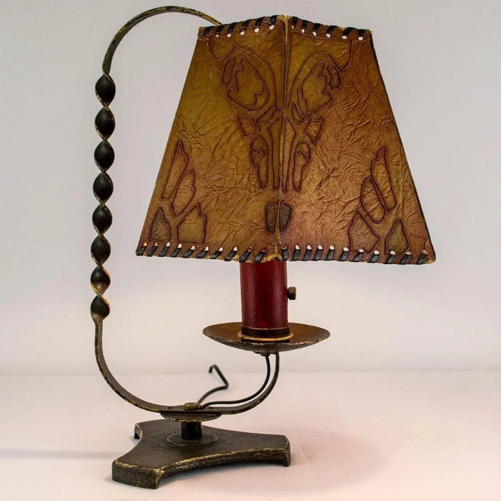 1920 S French Wrought Iron Table Lamp With Decorative Shade Table