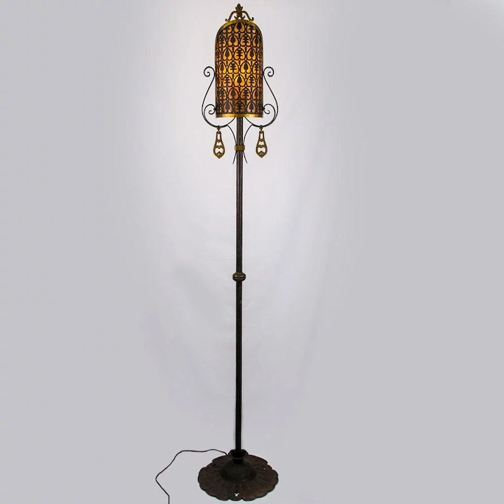 American 1920u0027s Wrought Iron Floor Lamp With Pierced Brass U0026 Mica Shield  Shade And Brass Accents
