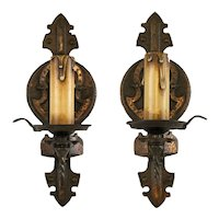 Pair 1920's American Spanish Revival Tudor Single Light Sconces