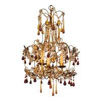 Mid Century Gold Italian Birdcage 3 light Crystal Chandelier