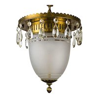1930's Brass Pendant with Frosted Glass Dome and Crystal Accents