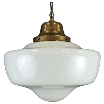 1920's Large Schoolhouse Shade Pendant