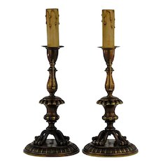 Footed Brass Candlestick Table Lamps