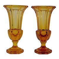 Hand Blown Amber Crystal Vases