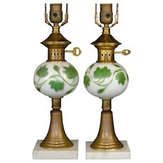 Ivy Decorated Brass Table Lamps