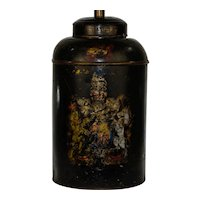 English Tole Tea Canister Table Lamp