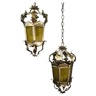 Pair, 1960's Antique Silver Tole Foliate Lanterns