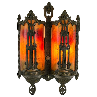 Late 1920's American Cast Metal Sconce with Catalin (Bakalite) Sconces