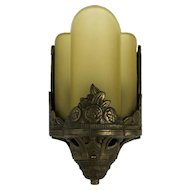1930's American Deco Sconce with Gold  Frosted Sculpted Shade