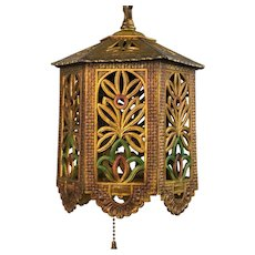 1930's American Polychrome Cast Metal Reticulated Lantern