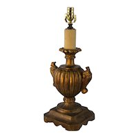 Vintage Hand Carved Fortuny Shaped Urn Table Lamps