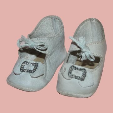 ~ Antique German *Size 7 Blue Leather Doll Shoes* with Toe Buckle ~