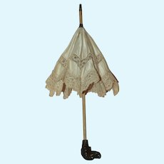 """~ Antique French 13"""" Doll Parasol with Carved Dog Head Hand Grip ~"""