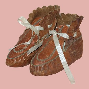 Wonderful, Early  Antique ~ Child / Leather Baby Booties