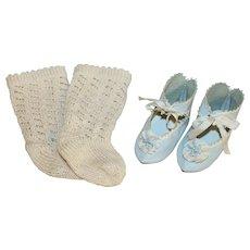 Wonderful *Blue French Style Doll Shoes* & Socks