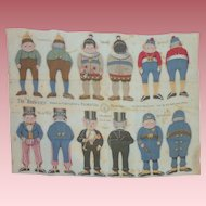 Uncut Sheet~ 6 Palmer Cox  Brownies ~ Cloth Dolls ca.1892