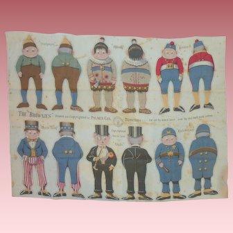 Uncut Sheet~ 6 Palmer Cox  Brownies ~ Cloth Dolls ca.1892