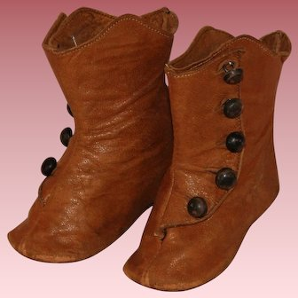 Antique High Top Leather Doll Shoes / Boots