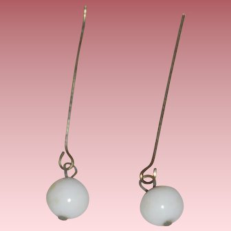 Nice *White Glass Drop Earrings* for Your Antique Doll