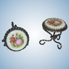 Pair Limoges France *Miniature Tables / Stools* Doll House Size