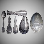 Fine Figural 1890's Washington Monument Sterling Souvenir Spoon