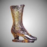 Victorian Figural Glass Boot Bouquet Holder