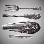 """Flower de Luce aka Fleur de Luce Silverplate Salad / Dessert Forks 6 & 1/4"""" Long"""