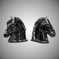 Black Abington Pottery Horse Head Bookends
