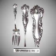 "1901 Silverplated Fancy Meat Fork ""Oxford Pattern"" by Wm Rogers & Son"