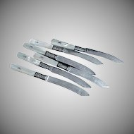 Set of Six (6) Very Fancy Mother Of Pearl  Handled Fruit Knives