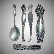 "Large Art Nouveau Frontenac Floral Sterling 9"" Berry Spoon"