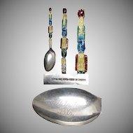 Enameled Totem Pole Figural Sterling Silver Souvenir Spoon