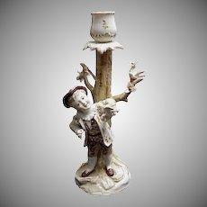 1890's German Porcelain Figural Candlestick w/ Birds
