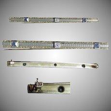 Victorian 14K Slender Bar Pin with Sapphire's &  Diamond