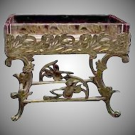 1890's Victorian Gold Ormolu & Colored Glass Footed Pin / Jewelry Tray w/ Iris Blooms