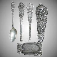 "Sterling Silver Floral Design 5 5/8"" Teaspoon in Trajan pattern 1892 by Reed & Barton"