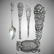 "Sterling Silver Floral Design 5 5/8"" Teaspoon in Trajan pattern 1892 by Reed & Barton"