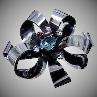 Large Sterling Silver Pin / Brooch in shape of a Bow
