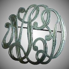 1900's Very Fancy Script Intertwined Hand Engraved Monogram Pin / Brooch