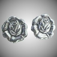 "Sterling Silver ""Rose"" Screw Back Earrings"