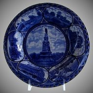 Rolled Edge Blue & White Rowland & Marsellus Historical Plate of Bridgeport Connecticut