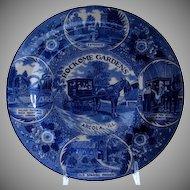 Rockome Gardens Arcola, Illinois Blue & White Souvenir Plate