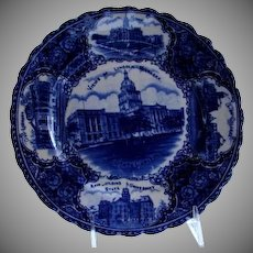 "Antique Blue & White Historical Plate ""Views of Lincoln Nebraska"""