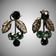 Pair of Clip On Green & Gold Finish Rhinestone Earrings