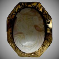 1900's Carved Coral (Angel-skin ) Cameo with Lady's Profile